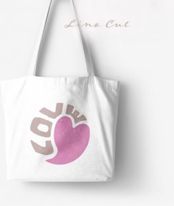 Love lino cut print bag