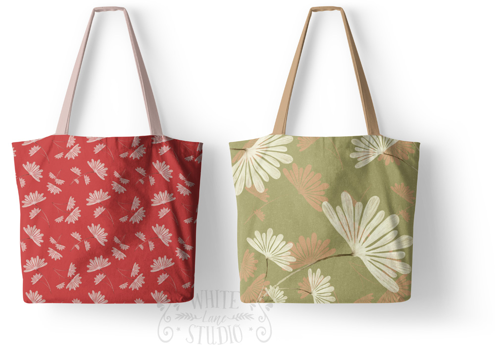 Floral Pattern Tote Bags