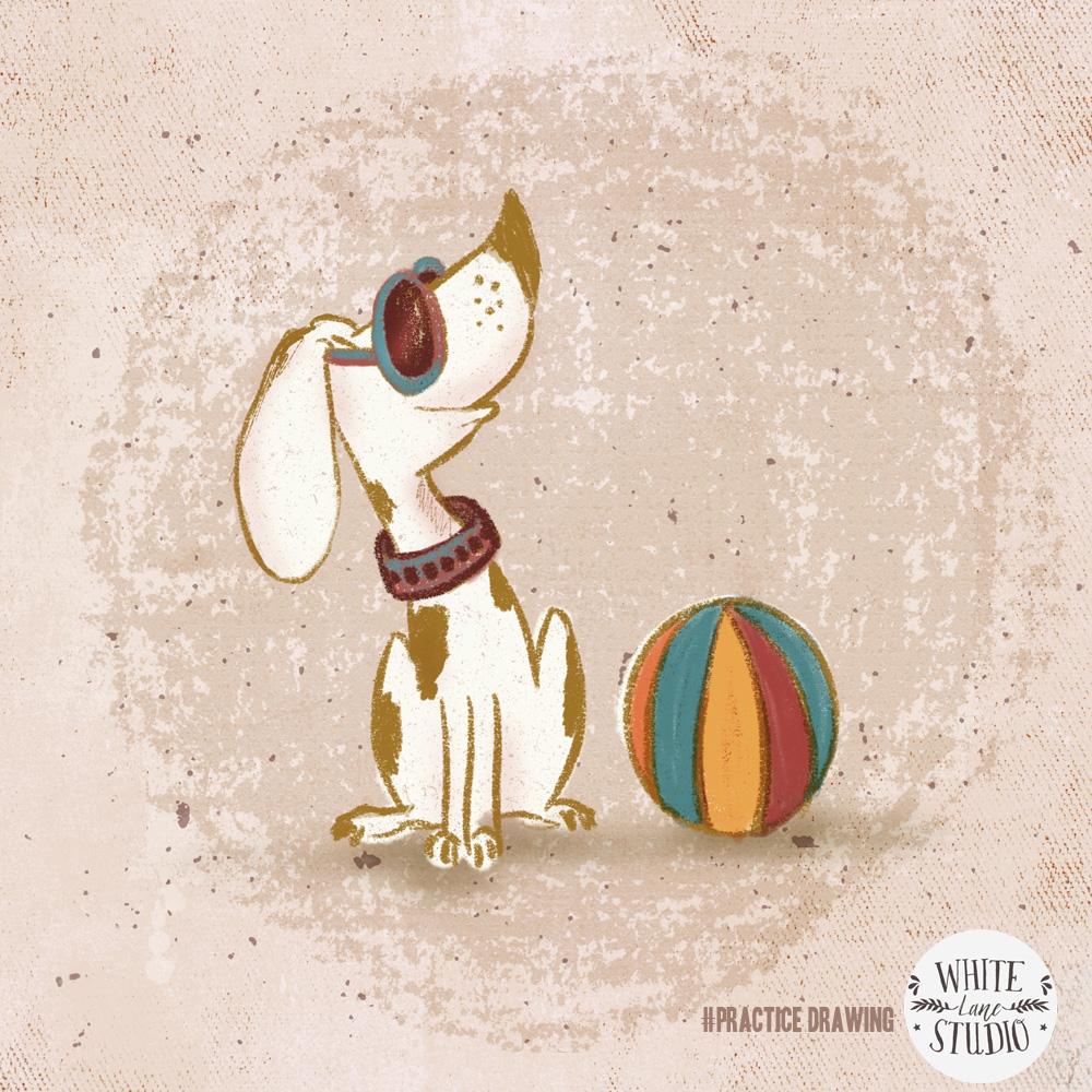 cute dog with beach ball
