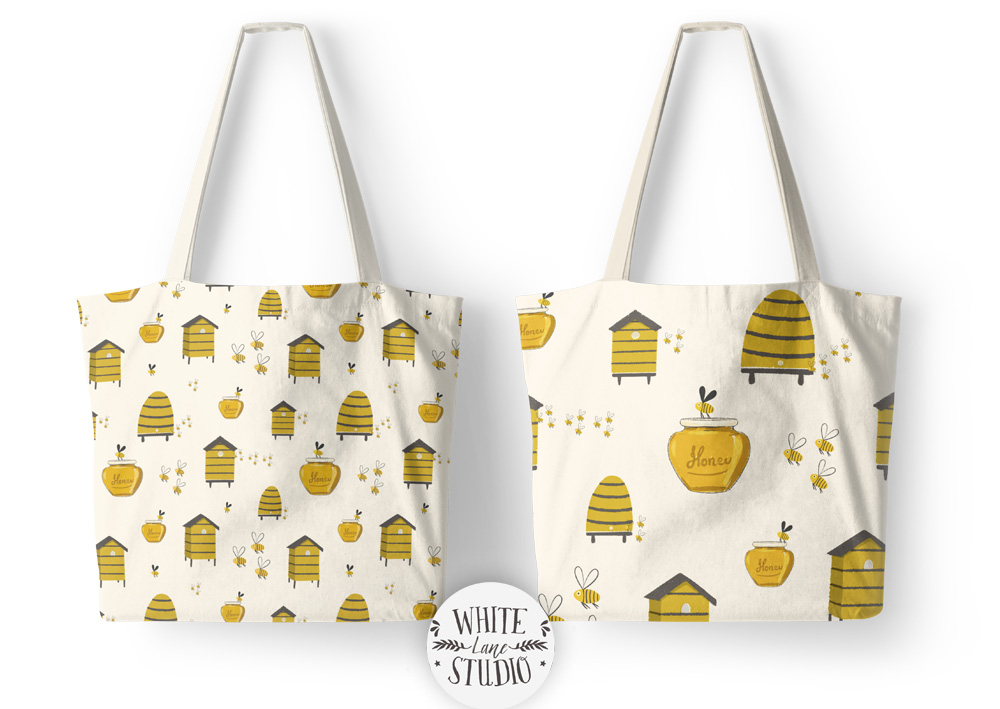Bee Hive Honey Pattern Tote Bags