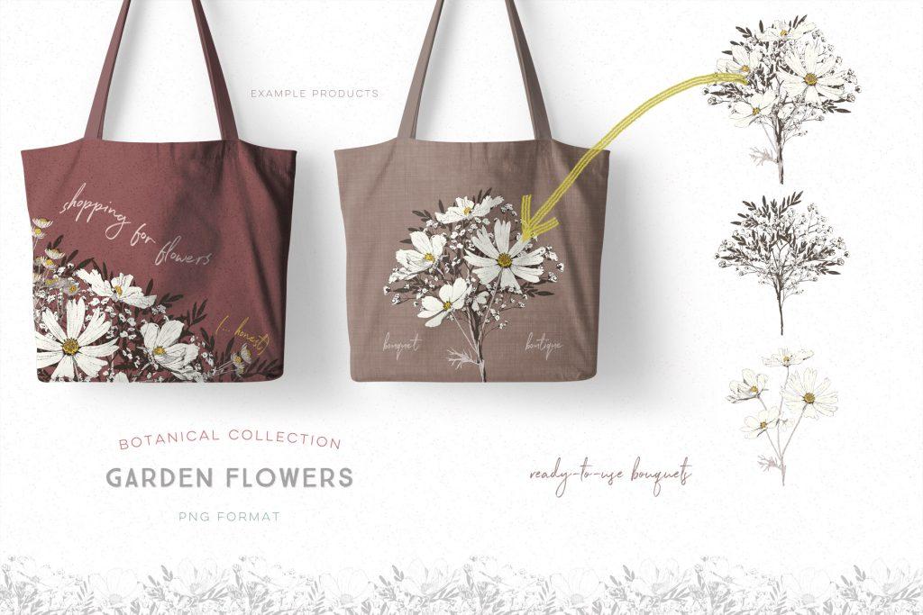 Garden Flowers Botanical Drawings