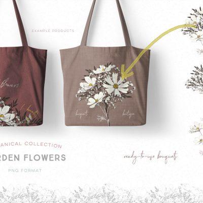 Garden Flowers: Hand-drawn Botanical Illustrations