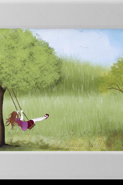 Girl on Garden Swing Illustration