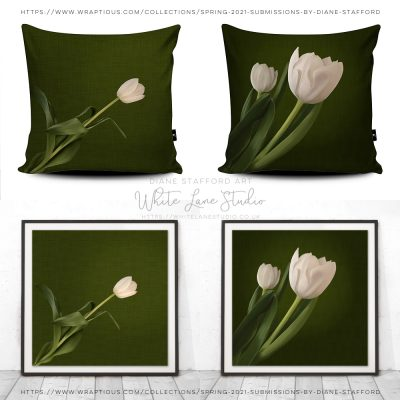 White Tulips on Green Pattern Background Entry