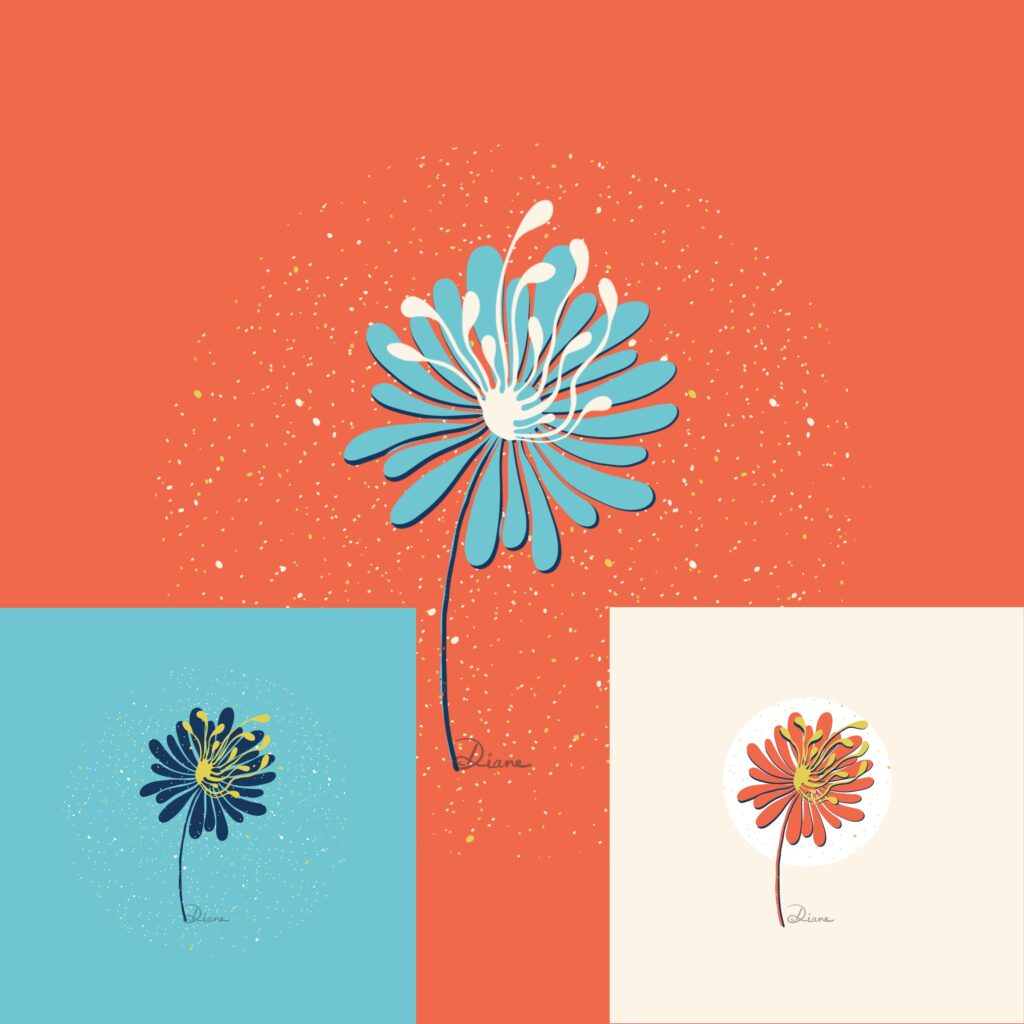 Example floral motifs kit Procreate flowers